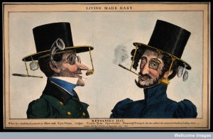 V0015848 A humorous image of two men wearing revolving top hats with