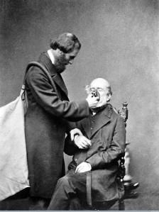 M0008839 Joseph Clover administering chroloform from his inhaler.
