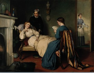 V0017068 A girl reads to a convalescent while a nurse brings in the p